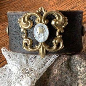 Leather cuff ; catholic medal ( medium)